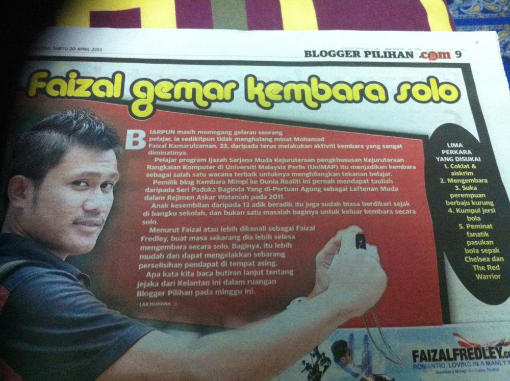 Post image for Faizal Fredley Blogger Pilihan Utusan Malaysia 20 April 2013